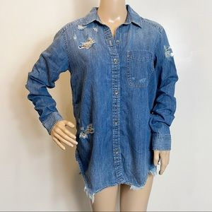 American Eagle Outfitters Distressed Button Down